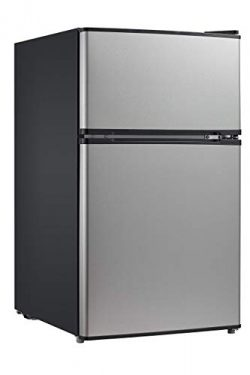 Midea WHD-113FSS1 Double Door Mini Fridge with Freezer for Bedroom Office or Dorm with Adjustabl ...