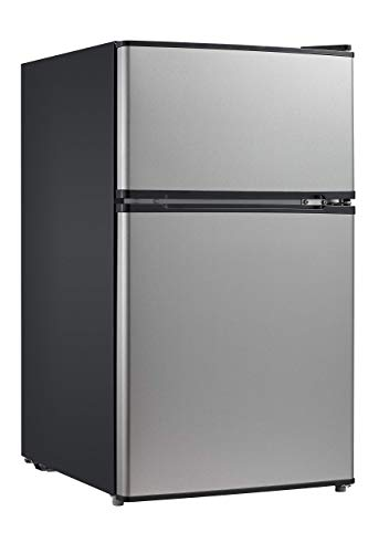 Midea WHD-113FSS1 Double Door Mini Fridge with Freezer for Bedroom Office or Dorm with Adjustabl ...