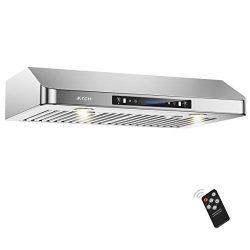 IKTCH 36 Inch Under Cabinet Range Hood 900-CFM | 4 Speed Gesture Sensing/Touch Control Switch Pa ...