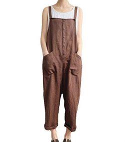 Aedvoouer Women's Baggy Plus Size Overalls Cotton Linen Jumpsuits Wide Leg Harem Pants Cas ...