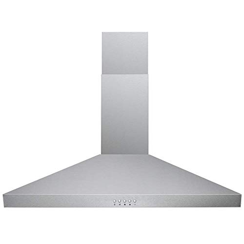 DKB Wall Mounted Range Hoods Brushed Stainless Steel 400 CFM (Silver, 30″ Push Button)