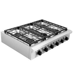 SDADI Kitchen Gas Cooktop 36″ Stainless Steel Range top with 1 Dual Burner for Simmer NG/L ...