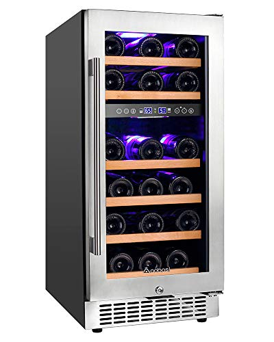 Aobosi 15 Inch Wine Cooler 28 Bottle Dual Zone Wine Refrigerator with Stainless Steel Tempered G ...