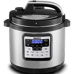 Yaufey Electric Pressure Cooker 6.3Qt 12-in-1 Instant Stainless Steel Pot, 12 Program Slow Cooke ...