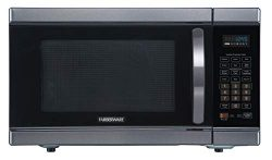 Farberware Black FMO11AHTBSJ 1.1 Cu. Ft 1100-Watt Microwave Oven with Smart Sensor Cooking, Inve ...