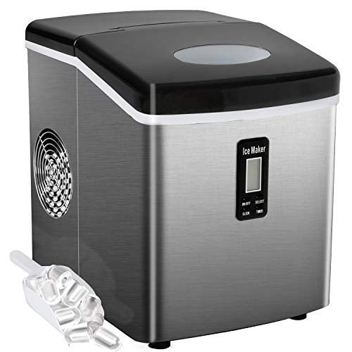 Countertop Ice Maker Portable Ice Making Machine with Timer -Bullet Ice Cubes Ready in 6 Mins &# ...