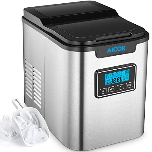 Aicok Portable Ice Maker, 26lbs Stainless Steel Countertop Ice Machine with Self-clean Function, ...
