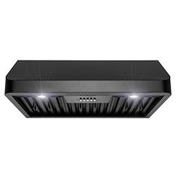 Firebird 30″ Under Cabinet Stainless Steel with Black Finish Push Panel Kitchen Range Hood ...