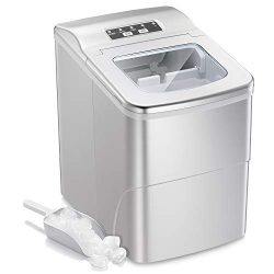AGLUCKY Portable Ice Maker Machine Stainless Steel Covers,Countertop Automatic Ice Maker,26lbs/2 ...