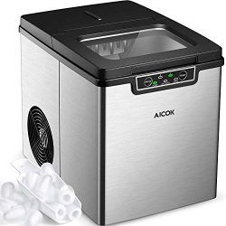 Portable Ice Maker, Aicok 26lbs Countertop Ice Maker Machine, Ice Cubes Ready in 6 mins, 26lbs I ...