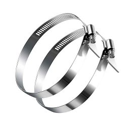 IKTCH Adjustable Stainless Steel Duct Clamps, Hose Clamp, Duct Clamps, Dryer Vent Hose Clamp, Pi ...