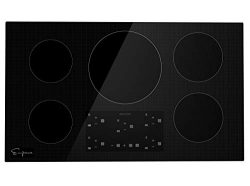 Empava IDCX36 36 Inch Electric Induction Smooth Surface with 5 Burners 240V Cooktops, Black