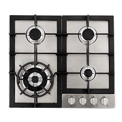 Cosmo 640STX-E 24″ Gas Cooktop with 4 sealed Burners, Counter-Top Cooker Cooktop with Cast ...