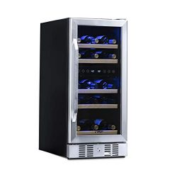 NewAir Dual Zone Built-In Wine Cooler and Refrigerator, 29 Bottle Capacity Fridge with Triple-La ...