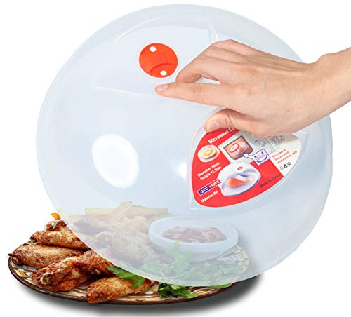 Large Microwave Plate Cover Easy Grip Microwave Splatter Guard Lid With Steam Vent and BPA Free  ...