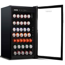 KUPPET 150-Can Beverage Cooler and Refrigerator 4.5 Cu.Ft, Office or Bar with Glass Door and Adj ...