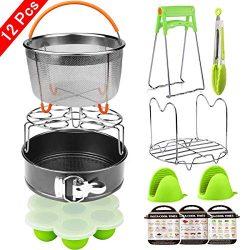 Aiduy 12 Pieces Pressure Cooker Accessories Set Compatible with Instant Pot 6,8Qt-Steamer Basket ...