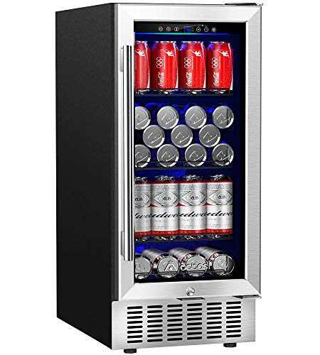 Aobosi 15 Inch Beverage Cooler, 94 Cans Built-in Beverage Refrigerator with Advanced Cooling Sys ...