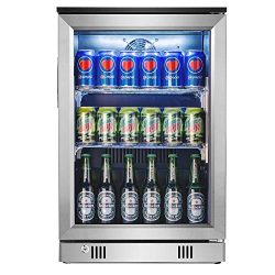 Advanics Frost Free Beverage Refrigerator 110 Can Mini Fridge Cooler with LED Lighting & Loc ...