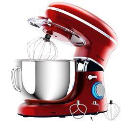 COSTWAY Stand Mixer, 660W Electric Kitchen Food Mixer with 6-Speed Control, 6.3-Quart Stainless  ...