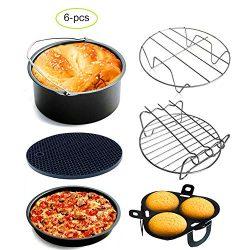 Air Fryer Accessories Set of 6 Fit all 3.7Qt, 5.3Qt, 5.8Qt Air Fryer Nonstick Coating,BPA Free,D ...