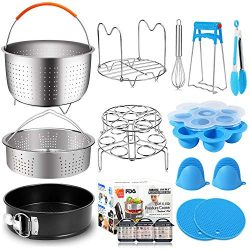 17 Pcs Instant Pot Accessories 6,8 Qt Pressure Cooker Accessories Steamer Basket, Springform Pan ...