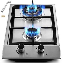 Happybuy 12×20 inches Built in Gas Cooktop 2 Burners Gas Stove Cooktop Stainless Steel Cook ...