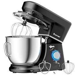 COSTWAY Stand Mixer 660W 6-Speed, Electric Mixer with Stainless Steel Bowl, Tilt-Head Food Mixer ...