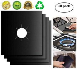 Gas Stove Burner Covers 10 Pack- XZSUN 0.2mm Double Thickness Reusable Gas Range Protectors For  ...