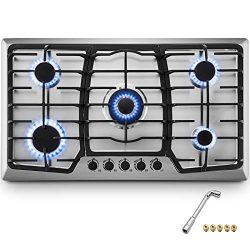 Happybuy 36×21 inches Built in Gas Cooktop 5 Burners Gas Stove Cooktop Stainless Steel Cook ...