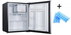 2.7 Compact Refrigerator Plus Bonus Mini Fridge Sized Ice Cube Trays (Stainless Look)