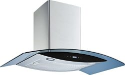 Winflo 36″ Wall Mount Stainless Steel/Arched Tempered Glass Convertible Kitchen Range Hood ...