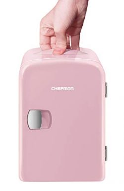 Chefman Mini Portable Compact Personal Fridge Cools & Heats, 4 Liter Capacity, Chills 6 12oz ...