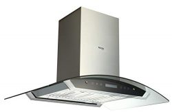 EKON NAIS01-36″ Island Mount Kitchen Range Hood / 2 Pcs 4 Speeds Touch Control LCD Display ...