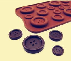 Drhob 1pcs Hot Sale Useful Silicone Chocolate Ice-Cubes Tray Mold For 19 buttons Shape Cooking Tools