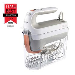 Oster 270-Watt Hand Mixer with HEATSOFT Technology | 7 Speeds | Includes Whisk, Dough Hooks, and ...