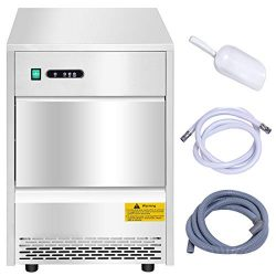 Costzon Commercial Ice Maker, Freestanding Portable Stainless Steel Ice Maker, Under Counter Ice ...
