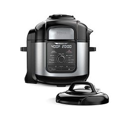 Ninja FD401 Foodi 8-qt. 9-in-1 Deluxe XL Cooker & Air Fryer-Stainless Steel Pressure Cooker, ...