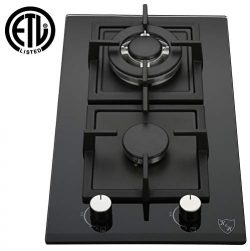 K&H 2 Burner 12″ NATURAL Gas Glass Cooktop 2-GCW