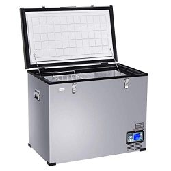 COSTWAY Car Freezer, 121-Quart Compressor Travel Refrigerator -4°F to 50°F, Portable and Compact ...