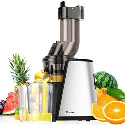 COSTWAY Slow Juicer Masticating Machine with 3.4 inch Wide Chute, Stainless Steel Juicer Extract ...