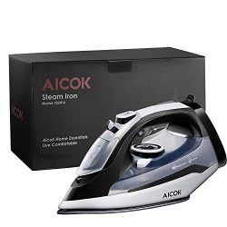 AICOK Steam Iron, 1400W Non-Stick Soleplate Iron for Clothes, Variable Temperature and Steam Con ...