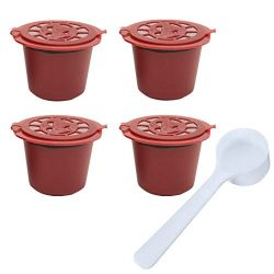 Hot Sale!DEESEE(TM)4Pcs Reusable Coffee Capsules Pods Cups Coffee Filter For Coffee Machine (Red)