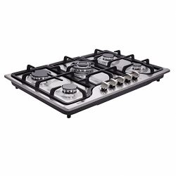 Deli-kit DK257-B01 30 inch LPG/NG gas cooktop gas hob stovetop 5 burners Dual Fuel 4 Sealed Burn ...