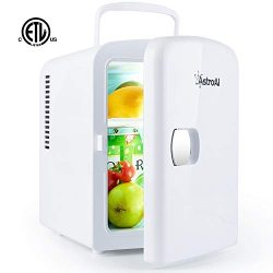 AstroAI Mini Fridge Portable AC/DC Powered Thermoelectric System Cooler and Warmer 4 Liter/6 Can ...