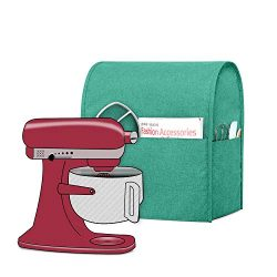 Luxja Dust Cover Compatible with 4.5-Quart and 5-Quart KitchenAid Mixers, Cloth Cover with Pocke ...