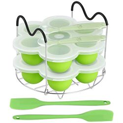 ROTTAY Silicone Egg Bites Molds and Steamer Rack Trivet with Heat Resistant Handles Fit Instant  ...