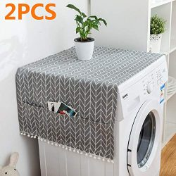 MF2FLAY 2PCS Fridge Dust Proof Cover Multi-Purpose Washing Machine Top Cover with 6 Refrigerator ...