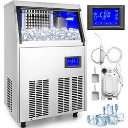 VBENLEM Commercial Ice Maker 155LBS in 24H with Water Drain Pump 33LBS Storage Stainless Steel 5 ...