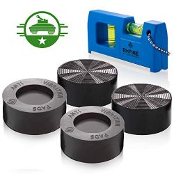 Anti Vibration Pads with Tank Tread Grip, 4 Pads + Level – Washer & Dryer Pedestals Fi ...